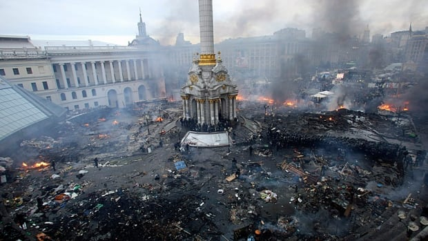 An aerial view shows Kyiv's Independence (Maidan) Square following some of the worst clashes between anti-government protesters and riot police on Wednesday.