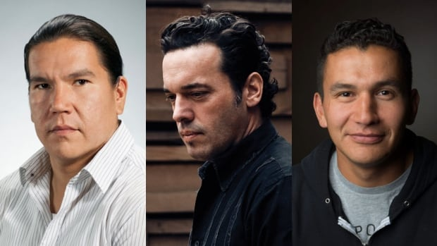 From left, author and journalist Waubgeshig Rice, author Joseph Boyden, and author and broadcaster Wab Kinew will be taking part in a discussion and debate about aboriginal storytelling on Tuesday, Feb. 25 in Ottawa. The event is sold out, but will be streamed live online by CBC.