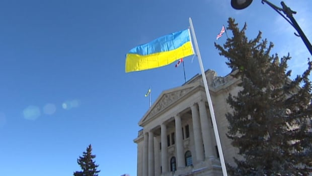 Ukraine's flag was raised on the guest pole at the Saskatchewan legislature.