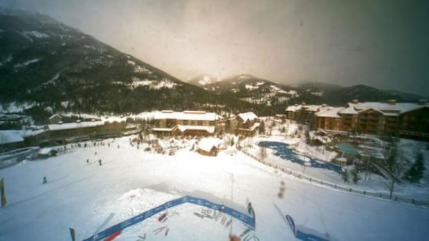 A webcam view of the village area of the Panorama resort, around noon Thursday.