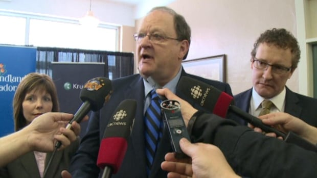 Tom Marshall tells reporters about the $110M loan for Corner Brook Pulp and Paper.