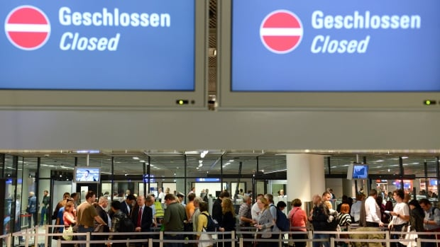 The security check at Frankfurt airport remains closed after a strike of the security personnel. About 74 flights were cancelled Friday at Germany's largest airport, which is also a major travel hub for Europe.