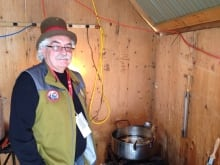 Roland Gagne in the Sugar Shack syrup cooking room