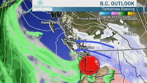 Wet snow may fall in British Columbia