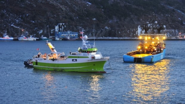 The Cape Dorset fishing vessel, left, seen here in the harbour in St. John's, sank south of the Burin Peninsula Saturday morning after taking on water.
