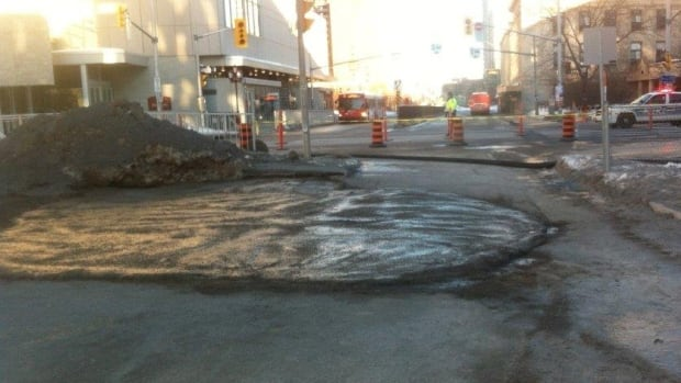 A sinkhole located on Waller Street near Laurier Avenue was filled about 24 hours after the road collapsed in downtown Ottawa.