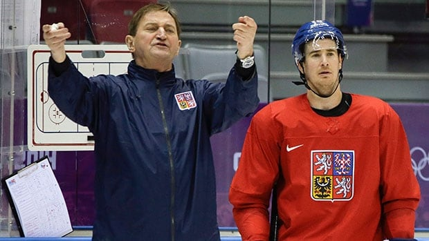 Czech Republic coach Alois Hadamczik, left, has been under fire for the team's unconvincing play and many questioned his team selection for the Sochi Olympic Games.