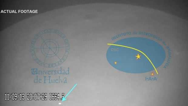 An image taken from video recorded at the Midas observatory in Spain shows the area of impact.