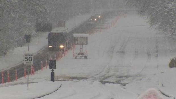 Snow on B.C.'s South Coast - SFU road