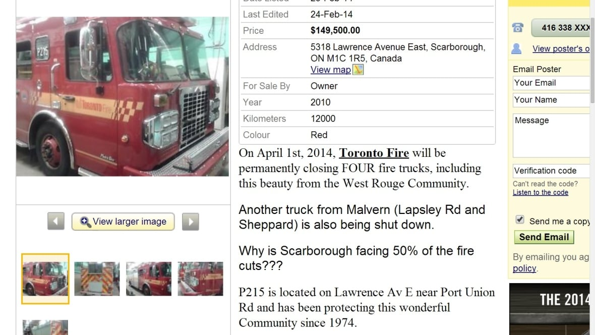 Kijiji Edmonton Used Cars For Sale: Fire Trucks For Sale? Kijiji Ad A Protest Against Cuts