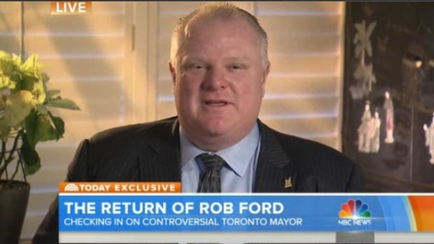 Rob Ford speaks from Toronto on NBC's Today show.