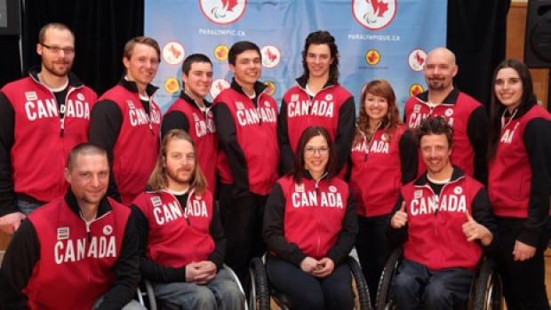 Canada's 2014 Paralympic alpine team members include, clockwise from top left: Kurt Oatway, BJ Marcoux (guide), Mac Marcoux, Kirk Schornstein, Braydon Luscombe, Alex Starker, Chris Williamson, Alana Ramsay, Josh Dueck, Kimberly Joines, Caleb Brousseau and Matt Hallat.