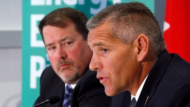 TransCanada CEO Russ Girling, right, and TransCanada president of energy and oil pipelines Alex Pourbaix announced the Energy East Pipeline project last year.