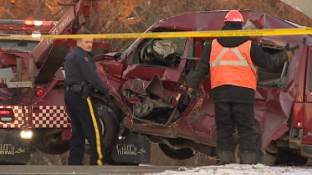An elderly man was killed when his van was hit by a train in Leduc, south of Edmonton, Tuesday.