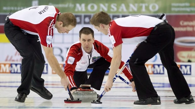 Newfoundland and Labrador skip Brad Gushue makes a shot as second, Adam Casey, right, and lead, Geoff Walker sweep during the bronze medal draw against Ontario at the Tim Hortons Brier in Edmonton on Sunday, March 10, 2013.