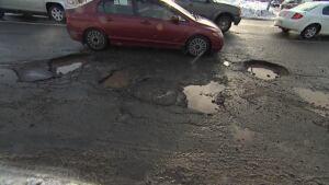 Potholes on Westerland Road Feb. 26, 2014