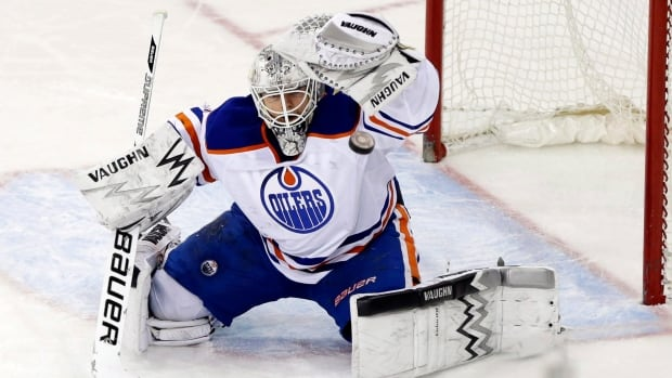 Ben Scrivens, seen in a Feb. 6 game, has a .948 save percentage so far with Edmonton.