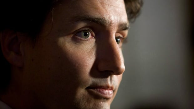 Liberal Leader Justin talks to reporters after attending caucus this week.