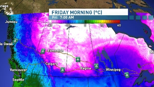 Brutally cold temperatures are expected to move towards southern Alberta by Friday morning.