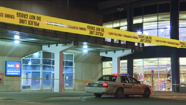 Edmonton police remained on scene at Londonderry Mall late Thursday.