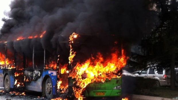 Fires on buses in China have been deliberately set in the past by passengers carrying grudges against the government. In this photo, a fire set on a bus Feb. 27 killed six people and injured dozens of others.