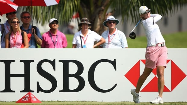 Karrie Webb hit a tee shot in the second round of the HSBC Women's Champions at Sentosa Golf Club in Singapore on Friday.
