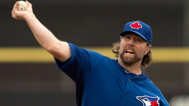 "Blue Jays pitcher R.A. Dickey made his exhibition debut on Thursday, allowing one unearned run in two innings. He says he'd like to have his comfortable knuckleball at about 76 or 77 miles per hour to start the season and his low pitch about 75. ""So I've probably got to get about three miles per hour on each of the high and low."""