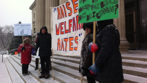 Anti-poverty protesters said assistance rates for Manitoba's poorest people ranks third lowest in the country.