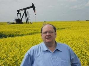 Tom Marshall in a canola field