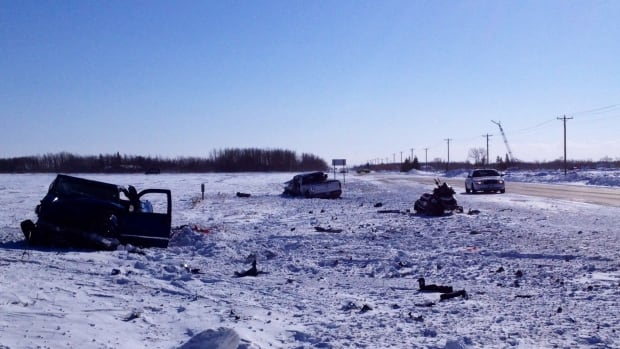 The aftermath of a fatal crash can be seen on Highway 8 on Friday morning.