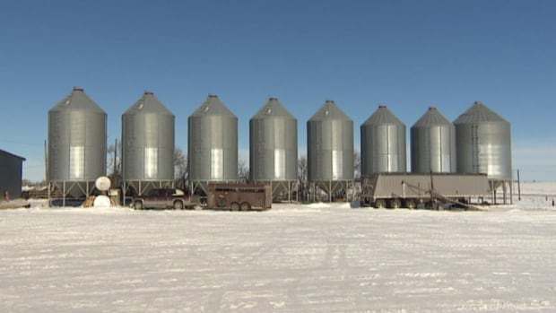 Grain bins on Roland Poirier's farm in southeastern Saskatchewan are full of product waiting to get to a customer.
