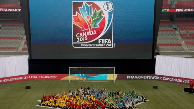 FIFA unveils the official emblem for the 2015 Women's World Cup soccer tournament during a ceremony in downtown Vancouver, B.C. Friday, December, 14, 2012.