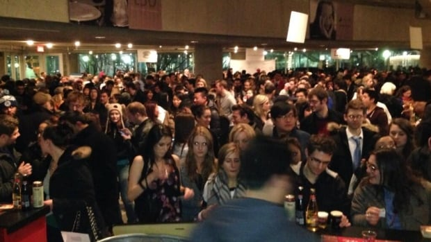 Foodies lineup inside Roy Thomson Hall for grilled cheese and soup.  Organizers said the event was oversold leaving many outside taking to social media to express their frustration.