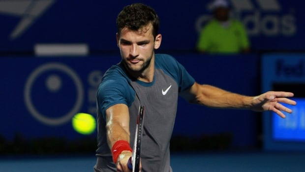Bulgaria's Grigor Dimitrov returns the ball while playing against Britain's Andy Murray during in Acapulco, Mexico, Friday, Feb. 28, 2014.