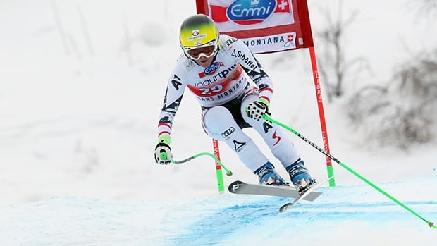 Andrea Fischbacher of Austria takes 1st place during the Audi FIS Alpine Ski World Cup Women's Downhill on March 02, 2014 in Crans-Montana, Switzerland.