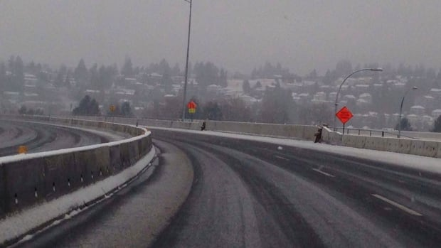 Highway 1 at the Cape Horn Interchange at 9 a.m. PT, Sunday.  Snow is barely sticking and conditions are expected to improve.