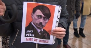 Ukranian rally - Hitler poster