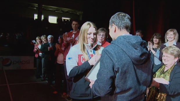 Premier Robert Ghiz annouced Heather Moyse would receive the Order of P.E.I. at her welcome home party following the Olympics in Sochi.