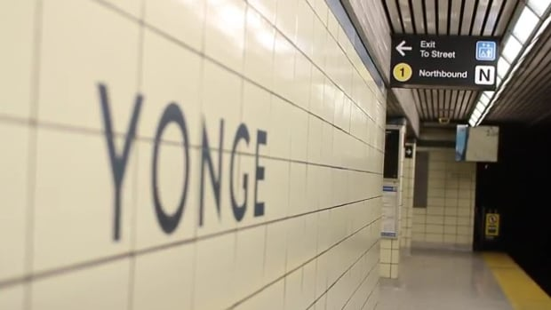 At Yonge Station, the northbound line is changed from the Yonge-University-Spadina line to 1 with a yellow sign.