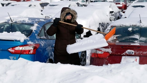 Freeway Ford sales consultant Debra Anderson clears snow off new cars on Feb. 21 in Bloomington, Minn.  U.S. auto sales are down because of bad weather.