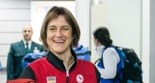 Caroline Bisson arrives in Sochi