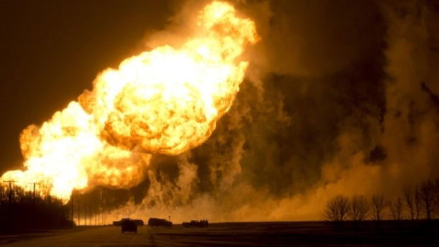 The pipeline explosion sent balls of flame 200 to 300 metres into the air.