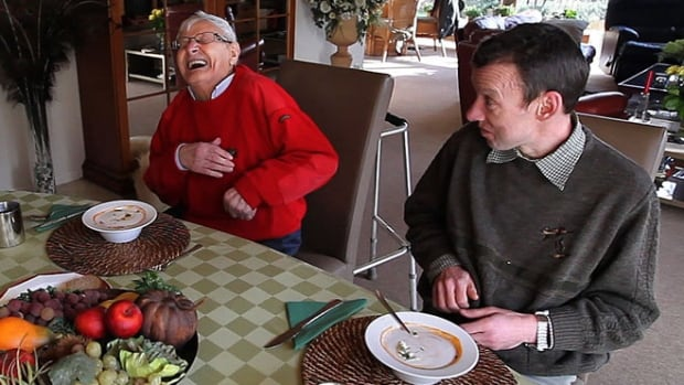 Dis (left) and Luc live with a foster family in the obscure Flemish town of Geel in Belgium. Luc is 48 and suffers from obsessive compulsive disorder. Dis is 89,  no one even labels his psychiatric disorder.