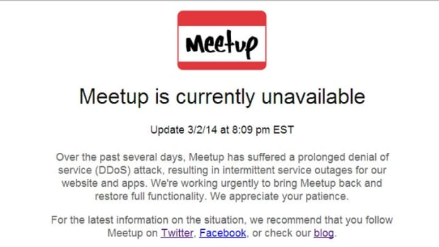 A screenshot taken Monday shows the message that visitors to Meetup.com have been receiving.
