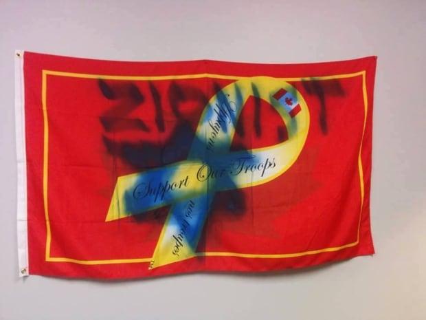 UWSA Vandalized Flag