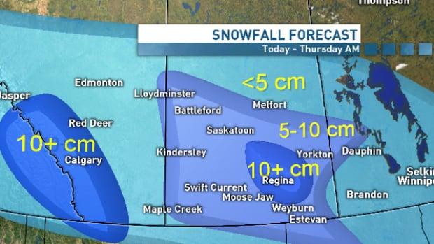 Winter appears to have Regina in its sights, with 10 centimetres of snow expected in the next day and a half.