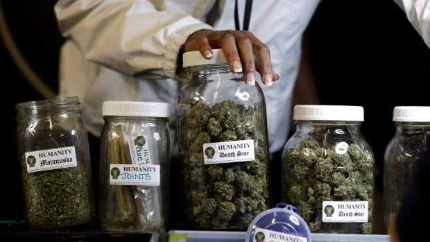 Different strains of marijuana are displayed at a store in Seattle that sells medical marijuana products. Twenty states now have laws that allow for medical marijuana use.