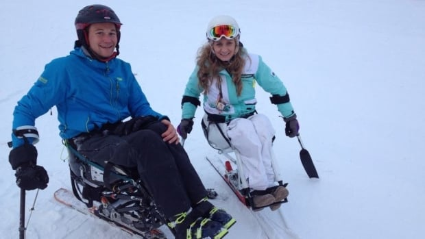 Calgary Eyeopener ski reporter Paul Karchut and sit skier Lorenda Bye hit the slopes at Canada Olympic Park.