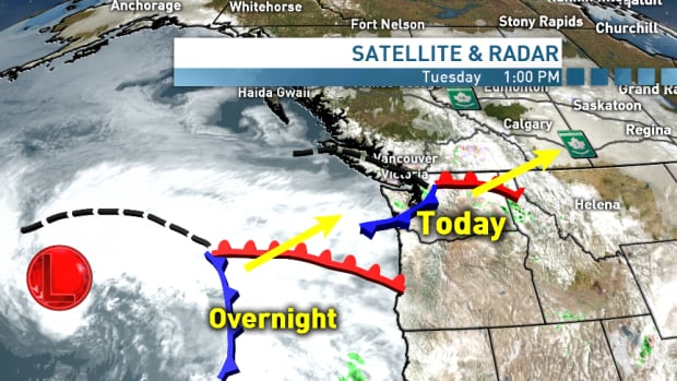 Satellite map shows current storm moving inland and the next one arriving Tuesday night.