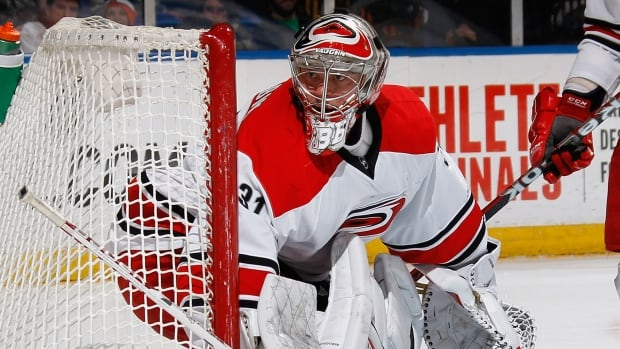 Anton Khudobin has a 13-8-0 with a 2.17 goals-against average in 22 games with the Carolina Hurricanes.